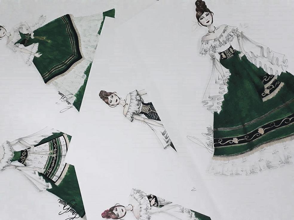Em alguns rascunhos a estilista mostra detalhes dos vestidos.