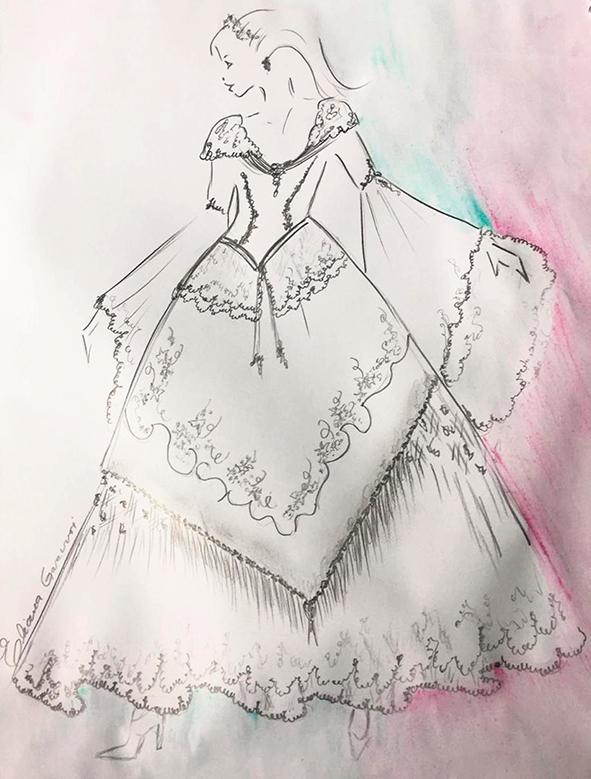 Croqui do vestido da rainha da 14ª Fenavindima.