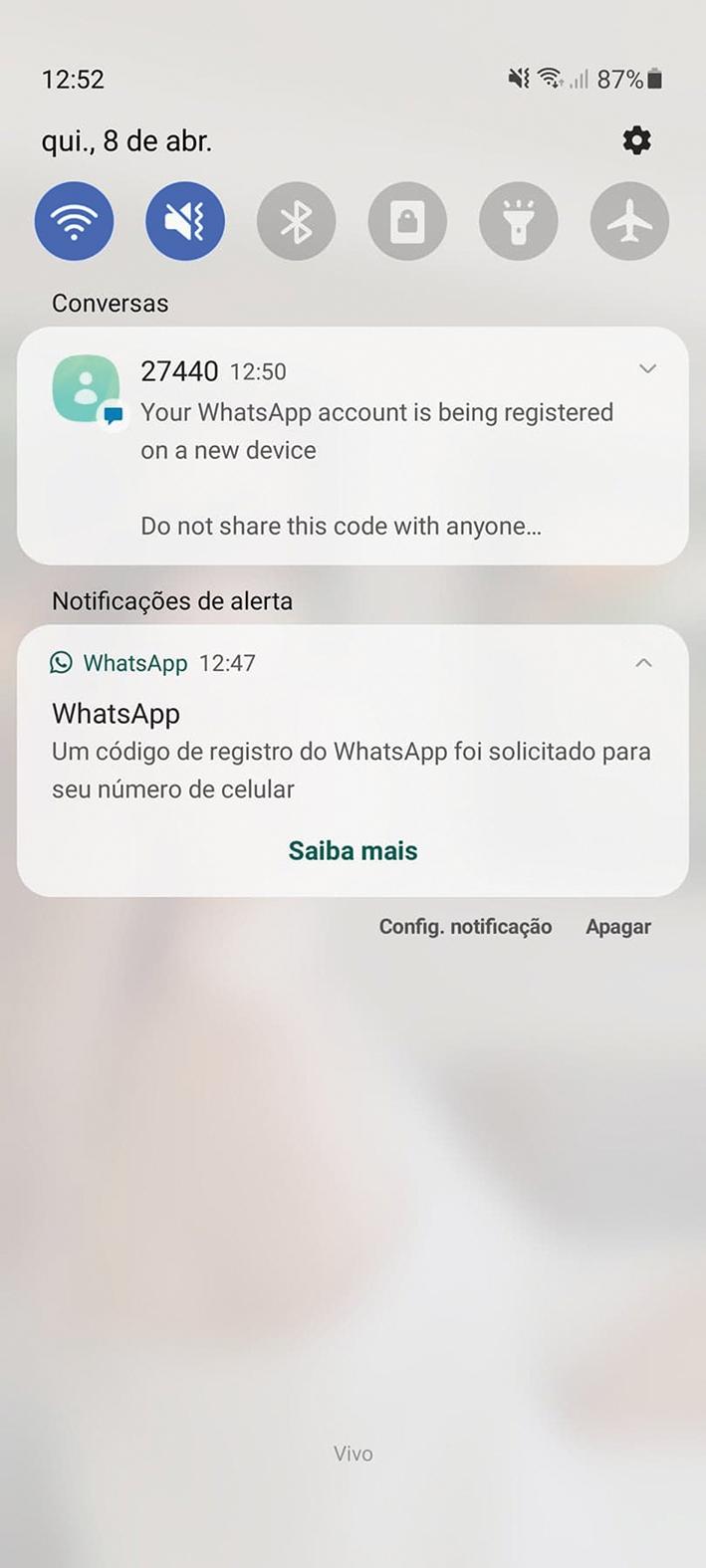 Print da tela do celular quando golpistas enviaram mensagem com um código para clonarem WhatsApp.