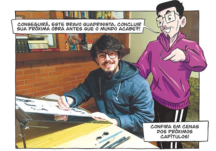 Luan Zuchi semanalmente divulga um tira de Hipérbole 4.